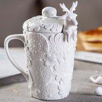 kupa dantel toptan satış-Yaratıcı 3D Kapaklı Kapaklar Çiftler Bardaklar Geyik Kaşık Sevimli Milu Geyik Kahve Fincanı Süt Bardak Kar Dantel Örgü Kabartmalı Seramik Kupa Kahvaltı Fincan