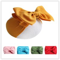 kleinkind mädchen kopf wraps großhandel-2019 Baby Mädchen Bogen Stirnbänder Neugeborene Kleinkinder Bowknot Hair Wraps 7 Zoll Schmetterling Knoten Kopfband Einfarbig Hairbows Party Headwear A42202