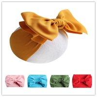 головные уборы для малышей оптовых-Ins Новорожденных Малышей Bowknot головных уборов ребёнки лук ободки 7 дюймов Бабочка узел глава группа Pure Color Hairbows партия Headwear A42202
