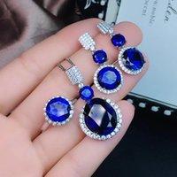 silberne halskette blauer saphir großhandel-Blue Sapphire Edelsteinschmuck-Set inklusive Ringohrring mit 925er Silber