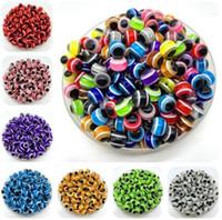 diy pulseras de plástico al por mayor-1000 UNIDS Mezclado Colorido Granos Ronda de Resina Malvada Ojo de los Granos de la raya de los Granos de la Joyería de Moda DIY Pulsera Hacer regalos