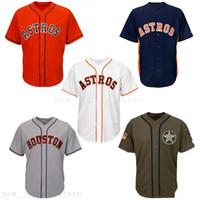 camisas de beisebol laranja em branco venda por atacado-2019 Homens Mulheres Juventude Astros Baseball Jersey Novo Em Branco Nenhum Nome Nenhum Número Branco Cinza Cinza Azul Marinho Laranja Verde Saudação ao Serviço