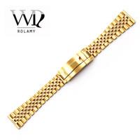 verriegelnder handgelenkstahl großhandel-Rolamy 20 22mm Uhrenarmband für Glide Lock Ersatz Handgelenk-Armband aus Edelstahl