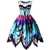 diseñador de mariposas al por mayor-Vestidos de moda de calidad para mujer Mariposa impresión sin mangas vestido de fiesta diseñador Tops Girl Vintage Swing vestido de encaje #Zero