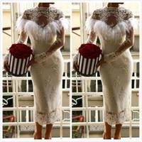 Wholesale short sheath beaded wedding dresses resale online - 2019 Sexy Lace Beaded African Dubai Beach Wedding Dresses Sheath High Neck Long Sleeves Bridal Dresses Tea Length Wedding Gowns