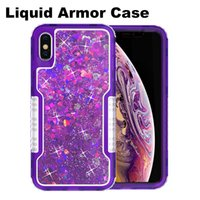 Wholesale armor defender case online – custom Hybrid Armor Defender Case For iPhone XS MAX Qicksand Liquid Case Rugged Cover Case for Samsung S9 S8 Plus iPhone Plus with OPP Bag