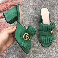 Wholesale womens chunky heel dress shoes resale online - 2020 Luxury slippers Womens fashion tassel real Leather sandals cm cm High heeled slippers Casual shoes flip flops of Best quality