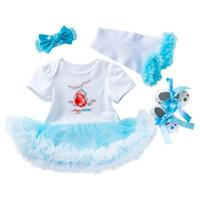 ingrosso caldo bodysuit-DHL 2019 Baby baby abiti pasquali Outfit My first Easter Tutu skirt Body + shoes + leg warmer + Fascia 4 pezzi / set Hotsale BY0868