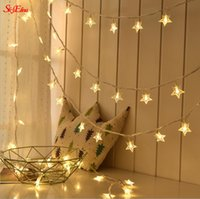 Wholesale star shaped christmas led lights resale online - 1 M Leds Battery Powered Star Shaped string light led Fairy light home Christmas Party Wedding Holiday Event decoration Z