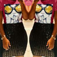 Wholesale sequin glasses resale online - 2019 Summer Women T shirt D Sequin Glass Nail Beads Luxury Tops Tees Womens Designer T Shirts Short Sleeve Patchwork TShirt best A22802