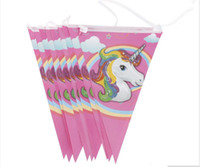 Wholesale birthday banners free shipping for sale - Group buy Party Supplies for Kids Unicorn Banner Cartoon Flag Party Decorations Baby Happy Birthday Wedding Event