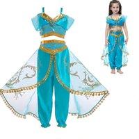 vestidos de jasmim venda por atacado-Crianças Cosplay Outfits Jasmine Princesa Traje Dos Desenhos Animados Vestido de Festa de Natal Das Meninas do Dia Das Bruxas Roupas de Grife Suprimentos HH9-2263