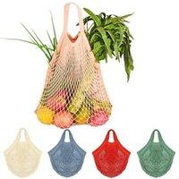rollende einkaufstaschen großhandel-Wiederverwendbare String Einkaufstaschen Obst Gemüse-Einkaufstüte Ineinander greifen-Netz Woven Umhängetasche Turtle Bag Totes Home Storage Taschen 60pcs