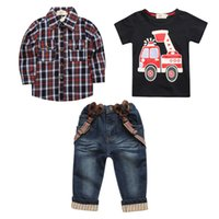 jungen hosenträger t-shirts großhandel-2019 Baby Boys Plaid Denim Hosenträger dreiteiligen Anzug (T-Shirt + Hemd + Jeans) Kleidung Sets Kinder Kinder Anzug Boutique Kleidung Outfits