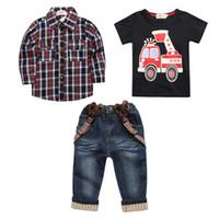 Wholesale boys jeans european style for sale – denim 2019 Baby Boys Plaid Denim suspenders three piece Suit tshirt shirt jeans Clothing Sets Kids children suit boutique clothes Outfits
