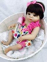 bebeğin canlı silikonu toptan satış-23 Inç Beyaz Cilt Bebek Bebek Gerçekçi Tam Silikon Vinil Alive Kız Bebek Reborn Bebek Bebek Çocuk Hediyeler Için Çocuk Iyi Oyun Arkadaşı