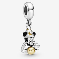 Wholesale pandora mickey for sale - Group buy Fit Pandora Bracelet Charm Sorcerer Mickey Dangle Authentic Sterling Silver Pendant Charms Beads European Charms DIY Style Jewelry
