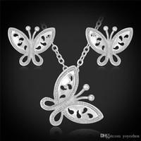 echte schmetterlingsohrringe groihandel-18K reales Gold überzog Schmucksets Vintage Schmetterlinge hängende Ohrring-Halsketten-Art und Weise Schmucksache-Groß YS121