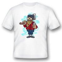 ingrosso logger nero-Tee shirt asimmetrico asimmetrico con manico nero o bianco