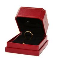 cajas de anillo de joyería para el envío al por mayor-Anillo de calidad original rojo de calidad superior mujeres joyería de boda al por menor anillos de regalo cajas de embalaje envío gratis