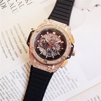freies verschiffen japan-uhren großhandel-Hot Sellingl Japan Rose Gold Quarz Chronograph Uhr Alle Zeiger Arbeiten Mens Rubber Band Herren Skeleton Uhren Freies Verschiffen