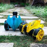uzaktan kablosuz araç oyuncakları toptan satış-2 Renkler Şeytan Balık Dublör Araba Toys 17cm Dört - Yol Kablosuz Deformasyon Uzaktan Kumanda Araba Komik Tamburlama Araba Oyuncak L533