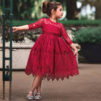 Wholesale children wedding clothes for girls resale online - New Lace Long Sleeve Dress For Children Wedding Party Prom Costume Red White Floral Embroidery Girl Dresses Kids Clothing