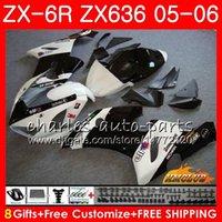 ingrosso bianco nero 636-Corpo per KAWASAKI NINJA nero bianco caldo ZX-636 ZX 6R 600 ZX-6R 05 06 35HC.99 ZX636 ZX600 ZX 636 600CC 6 R ZX6R 05 06 2005 2006 Carene complete