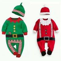 kırmızı şapka giysileri toptan satış-2019 çocuk tasarımcı kıyafetleri erkek yılbaşı giysileri bebek romper ve yılbaşı şapka 70-95cm kırmızı ve yeşil bebek giysileri