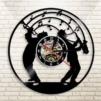 дизайн музыкального искусства оптовых-Jazz Music Art  Wall Clock With Led Light Saxophone Design Illuminated Watch Art Jazz Band Music Lover Gift