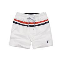 çizgili şort toptan satış-Erkek Çizgili Kurulu Plaj Şort Yaz Moda Rahat Küçük At Baskılı Spor Mayo Şort