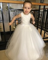 Wholesale white wedding dresses blue belt resale online - 2020 Lovely Flower Girl Dresses Princess Crew Neck Appliques Beads With Belt Long Kids Formal Communion Gowns Birthday Party Wear For Teens