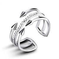 anillos estilo moderno al por mayor-VOJEFEN Anillo moderno Plata de ley Doble flecha Abrigo Anillo de apertura Flecha Estilo Celebrity Silver para niñas