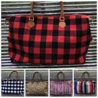 sacos impressos animais venda por atacado-xadrez Leopard Duffel Bag Big Viagem listrado Tote animal print bolsa Duplo PU alças Sarah Capacidade Weekenders Bag LJJA3452