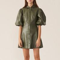 grande vestido de manga puff venda por atacado-Rosa Verde Moda PU Leather Dress For Women lapela Collar Sleeve Puff Meio cintura alta Mini Vestidos Feminino 2020 Autumn Big Size Moda de Nova