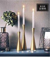 ingrosso candele di bronzo-Portacandele INS Bronze Retro-European Candlestick Dinner Decoration Romantico Tavolo occidentale Oggetti da sole per tavoli da pranzo occidentali