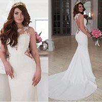 Wholesale open back satin wedding gown for sale - Group buy Exquisite Jewel Neckline Natural Waistline Mermaid Wedding Dress With Lace Appliques Cutout Side Sexy Open Back Bridal Gown TFDH02