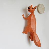 arte animal de papel venda por atacado-Esquilo criativo nórdico decoração da parede 3D geométrica pequeno animal decoração de casa japonesa diy papel arte bonito Casa Decoração Itens Novidade