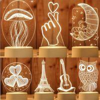 noite 3d venda por atacado-3D Lâmpada LED Criativo 3D LED toque Luzes da noite Novidade Ilusão Lâmpada noturna Ilusão 3D Lâmpada de mesa Para Casa Decorativa