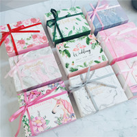 Wholesale romantic candy gifts resale online - Flamingo Unicorn Packing Box Wedding Romantic Dreamy Silk Ribbon Gift Boxes Pink Green Square Papery Candy Case xgD1