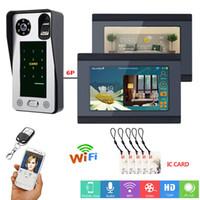 система контроля доступа к дверям отпечатков пальцев оптовых-MAOTEWANG 7 дюймов проводной WiFi отпечатков пальцев IC карты видео домофон дверной звонок домофон с системой контроля доступа двери