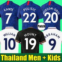 camisetas de fútbol al por mayor-Tailandia 19 20 camiseta de fútbol CHELSEA PULISIC ABRAHAM MOUNT  ODOI WILLAN camiseta de fútbol 2019 2020 GIROUD Camiseta de football kits shirt HOMBRES MUJERES NIÑOS SETS TOPS