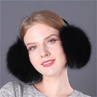 New Style Women Winter Warm Real Fox Fur Earmuffs Ear Protection Soft Ear Muff