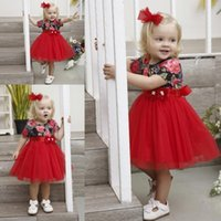 küçük kırmızı elbise düğün toptan satış-Gerçek Görüntü Kırmızı Çiçek Kız Elbise Balo Cap Kollu Küçük Kız Gelinlik Vintage komünyon Yarışması Elbise Modelleri MC1653