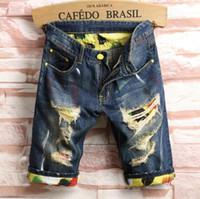 joelho comprimento denim capris venda por atacado-Nova Moda Homens Jeans Fino Na Altura Do Joelho Jeans Rasgado Calça Casual Homme Calças Masculinas Buraco Jeans