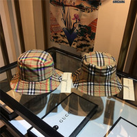 Wholesale plain bucket hat resale online - Summer Fashion Designer brand Bucket Hat Sun Striped HipHop Fisherman Cap Camouflage