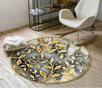 pisos de vinilo moderno al por mayor-Custom 3D Floor Sticker Gold vine abstract round Cuarto de baño Dormitorio Vinyl Floor Mural PVC Waterproof Wallpaper Painting Modern