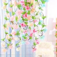 sakura zauberstab großhandel-Seidenblume Sakura Blumen künstliche Kirschblüten Blume Wand Reben Partei Girlande Seide gefälschte Kirschblume Rattan Hochzeit EEA351