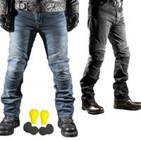 ingrosso armatura motociclistica fuori strada-Jeans antivento da corsa per motociclismo Jeans da motociclista Pantaloni da uomo Motocicletta Pantaloni protettivi da motocross con armatura Ginocchiere Ginocchiere Moto S-3XL
