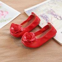 adornos de zapatos de bebé al por mayor-Floral Flor Bebés bebés Zapatos de baile Ornamento de flor Zapatos antideslizantes Casual Cuero Suela suave Calzado antideslizante